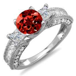 3.15 Carat (ctw) 14k White Gold Round Red Garnet & Princess White Diamond Ladies 3 Stone Engagement Bridal Ring