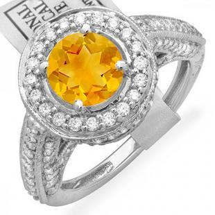 2.56 Carat (ctw) 18K White Gold Round Yellow Citrine & White Diamond Ladies Vintage Halo Style Engagement Bridal Ring