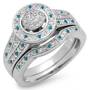 0.50 Carat (ctw) 14K White Gold Round Blue & White Diamond Ladies Split Shank Bridal Engagement Ring Set Matching Wedding Band 1/2 CT