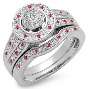 0.50 Carat (ctw) Sterling Silver Round Ruby & White Diamond Ladies Split Shank Bridal Engagement Ring Set Matching Wedding Band 1/2 CT