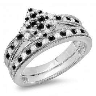 0.80 Carat (ctw) 10K White Gold Round  Black & White Diamond Ladies Bridal Marquise Shape Promise Engagement Ring Set With Matching Band 3/4 CT