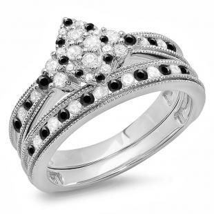 0.80 Carat (ctw) 14K White Gold Round  Black & White Diamond Ladies Bridal Marquise Shape Promise Engagement Ring Set With Matching Band 3/4 CT