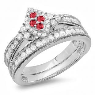 0.80 Carat (ctw) 10K White Gold Round Ruby & White Diamond Ladies Bridal Marquise Shape Promise Engagement Ring Set With Matching Band 3/4 CT