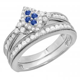 0.80 Carat (ctw) 10K White Gold Round Blue Sapphire & White Diamond Ladies Bridal Marquise Shape Promise Engagement Ring Set With Matching Band 3/4 CT