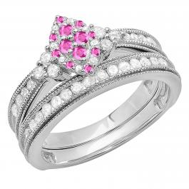 0.80 Carat (ctw) 10K White Gold Round Pink Sapphire & White Diamond Ladies Bridal Marquise Shape Promise Engagement Ring Set With Matching Band 3/4 CT