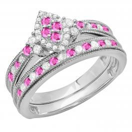 0.80 Carat (ctw) Sterling Silver Round Pink Sapphire & White Diamond Ladies Bridal Marquise Shape Promise Engagement Ring Set With Matching Band 3/4 CT