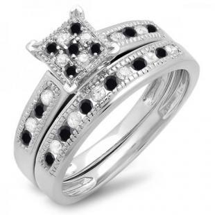 0.50 Carat (ctw) 10K White Gold Round Black & White Diamond Ladies Engagement Bridal Ring Set Matching Wedding Band 1/2 CT