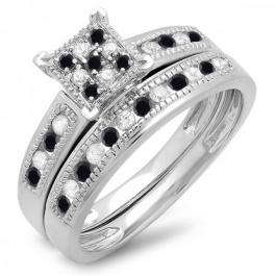 0.50 Carat (ctw) Sterling Silver Round Black & White Diamond Ladies Engagement Bridal Ring Set Matching Wedding Band 1/2 CT