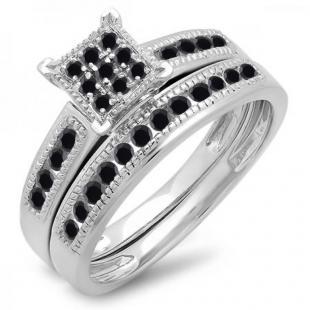 0.50 Carat (ctw) 14K White Gold Round Black Diamond Ladies Engagement Bridal Ring Set Matching Wedding Band 1/2 CT