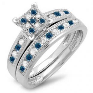 0.50 Carat (ctw) Sterling Silver Round Blue & White Diamond Ladies Engagement Bridal Ring Set Matching Wedding Band 1/2 CT