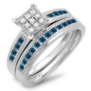 0.50 Carat (ctw) 10K White Gold Round Blue & White Diamond Ladies Engagement Bridal Ring Set Matching Wedding Band 1/2 CT