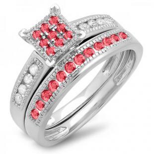 0.50 Carat (ctw) Sterling Silver Round Ruby & White Diamond Ladies Engagement Bridal Ring Set Matching Wedding Band 1/2 CT