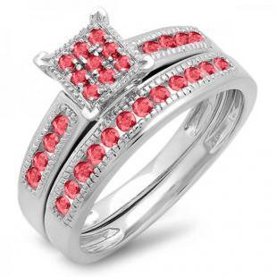 0.50 Carat (ctw) 10K White Gold Round Ruby Ladies Engagement Bridal Ring Set Matching Wedding Band 1/2 CT