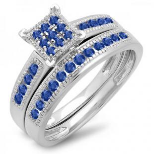 0.50 Carat (ctw) 10K White Gold Round Blue Sapphire Ladies Engagement Bridal Ring Set Matching Wedding Band 1/2 CT