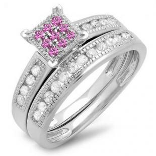 0.50 Carat (ctw) Sterling Silver Round Pink Sapphire & White Diamond Ladies Engagement Bridal Ring Set Matching Wedding Band 1/2 CT