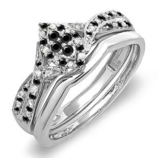 0.33 Carat (ctw) 10K White Gold Round Black & White Diamond Ladies Marquise Shape Bridal Promise Engagement Ring Set With Matching Band 1/3 CT