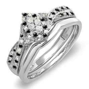 0.33 Carat (ctw) 14K White Gold Round Black & White Diamond Ladies Marquise Shape Bridal Promise Engagement Ring Set With Matching Band 1/3 CT