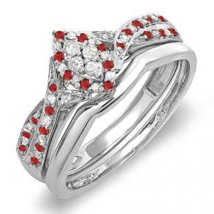 0.33 Carat (ctw) 10K White Gold Round Ruby & White Diamond Ladies Marquise Shape Bridal Promise Engagement Ring Set With Matching Band 1/3 CT