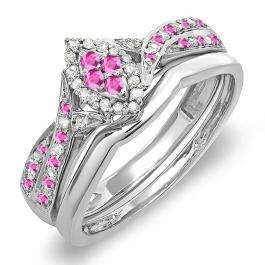 0.33 Carat (ctw) Sterling Silver Round Pink Sapphire & White Diamond Ladies Marquise Shape Bridal Promise Engagement Ring Set With Matching Band 1/3 CT