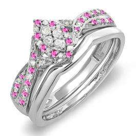 0.33 Carat (ctw) 14K White Gold Round Pink Sapphire & White Diamond Ladies Marquise Shape Bridal Promise Engagement Ring Set With Matching Band 1/3 CT