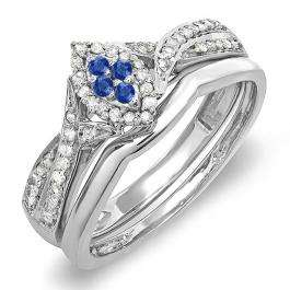 0.33 Carat (ctw) Sterling Silver Round Blue Sapphire & White Diamond Ladies Marquise Shape Bridal Promise Engagement Ring Set With Matching Band 1/3 CT