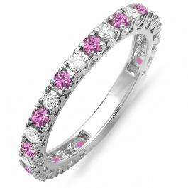 1.00 Carat (ctw) 10K White Gold Round Pink Sapphire & White Diamond Eternity Sizeable Stackable Ring Anniversary Wedding Band 1 CT