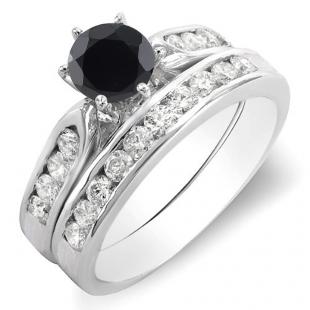 1.00 Carat (ctw) 18k White Gold Round Black & White Diamond Ladies Bridal Engagement Ring Set With Matching Band 1 CT
