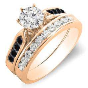 1.00 Carat (ctw) 14k Rose Gold Round Black & White Diamond Ladies Bridal Engagement Ring Set With Matching Band 1 CT