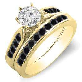 1.00 Carat (ctw) 14k Yellow Gold Round Black & White Diamond Ladies Bridal Engagement Ring Set With Matching Band 1 CT