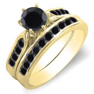 1.00 Carat (ctw) 10k Yellow Gold Round Black Diamond Ladies Bridal Engagement Ring Set With Matching Band 1 CT