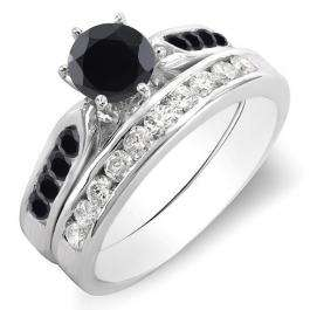 1.00 Carat (ctw) 14k White Gold Round Black & White Diamond Ladies Bridal Engagement Ring Set With Matching Band 1 CT