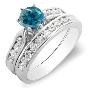 1.00 Carat (ctw) 18k White Gold Round Blue & White Diamond Ladies Bridal Engagement Ring Set With Matching Band 1 CT