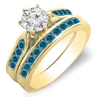 1.00 Carat (ctw) 10k Yellow Gold Round Blue & White Diamond Ladies Bridal Engagement Ring Set With Matching Band 1 CT