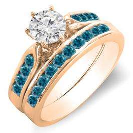 1.00 Carat (ctw) 18k Rose Gold Round Blue & White Diamond Ladies Bridal Engagement Ring Set With Matching Band 1 CT