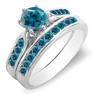 1.00 Carat (ctw) 18k White Gold Round Blue Diamond Ladies Bridal Engagement Ring Set With Matching Band 1 CT