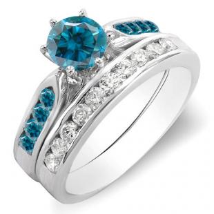 1.00 Carat (ctw) 10k White Gold Round Blue & White Diamond Ladies Bridal Engagement Ring Set With Matching Band 1 CT