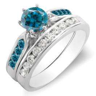 1.00 Carat (ctw) 14k White Gold Round Blue & White Diamond Ladies Bridal Engagement Ring Set With Matching Band 1 CT