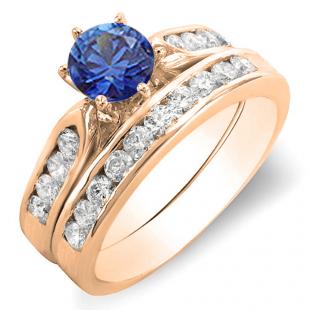 1.00 Carat (ctw) 14k Rose Gold Round Blue Sapphire & White Diamond Ladies Bridal Engagement Ring Set With Matching Band 1 CT