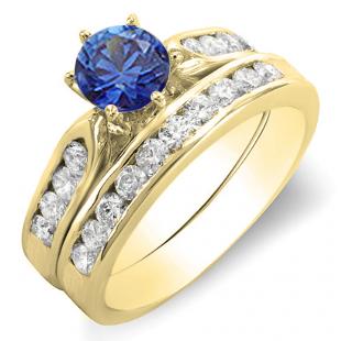 1.00 Carat (ctw) 18k Yellow Gold Round Blue Sapphire & White Diamond Ladies Bridal Engagement Ring Set With Matching Band 1 CT
