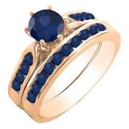 1.00 Carat (ctw) 14k Rose Gold Round Blue Sapphire Ladies Bridal Engagement Ring Set With Matching Band 1 CT
