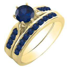1.00 Carat (ctw) 14k Yellow Gold Round Blue Sapphire Ladies Bridal Engagement Ring Set With Matching Band 1 CT