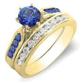 1.00 Carat (ctw) 18k Yellow Gold Round Blue Sapphire & White Diamond Ladies Bridal Engagement Ring Set With Matching Band 1 CT