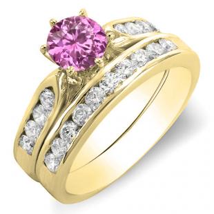 1.00 Carat (ctw) 18k Yellow Gold Round Pink Sapphire & Yellow Diamond Ladies Bridal Engagement Ring Set With Matching Band 1 CT