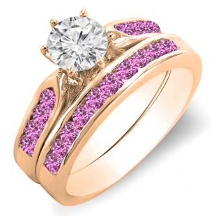 1.00 Carat (ctw) 10k Rose Gold Round Pink Sapphire & White Diamond Ladies Bridal Engagement Ring Set With Matching Band 1 CT