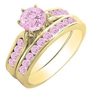 1.00 Carat (ctw) 10k Yellow Gold Round Pink Sapphire Ladies Bridal Engagement Ring Set With Matching Band 1 CT