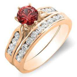 1.00 Carat (ctw) 10k Rose Gold Round Red Ruby & Rose Diamond Ladies Bridal Engagement Ring Set With Matching Band 1 CT