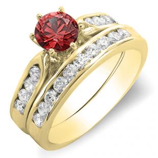 1.00 Carat (ctw) 18k Yellow Gold Round Red Ruby & Yellow Diamond Ladies Bridal Engagement Ring Set With Matching Band 1 CT
