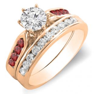 1.00 Carat (ctw) 14k Rose Gold Round Red Ruby & White Diamond Ladies Bridal Engagement Ring Set With Matching Band 1 CT