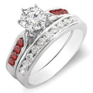 1.00 Carat (ctw) 18k White Gold Round Red Ruby & White Diamond Ladies Bridal Engagement Ring Set With Matching Band 1 CT