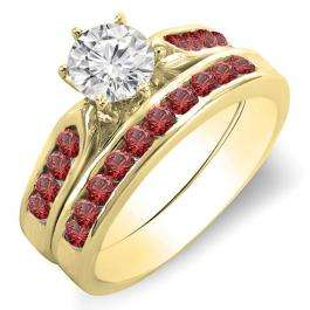 1.00 Carat (ctw) 14k Yellow Gold Round Red Ruby & White Diamond Ladies Bridal Engagement Ring Set With Matching Band 1 CT
